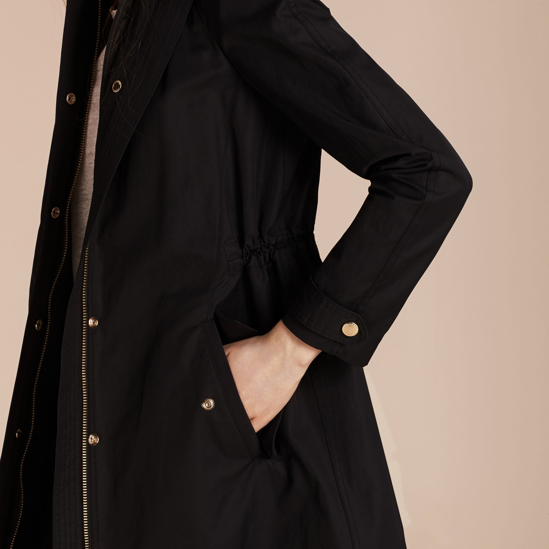 Hooded Cotton Blend Parka with Detachable Warmer in Black - Women | Burberry - gallery image 6