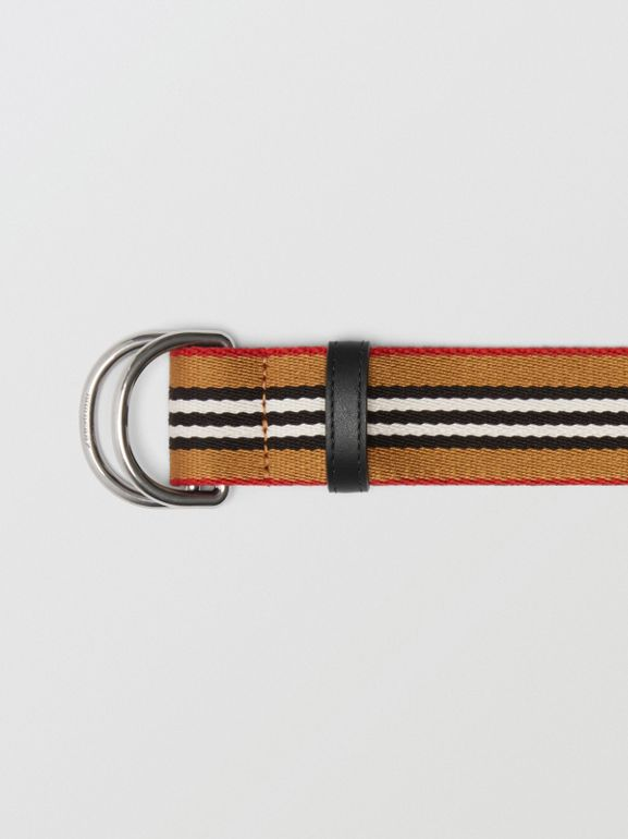 Heritage Stripe Double D-ring Belt in Vintage Check - Women | Burberry - cell image 1
