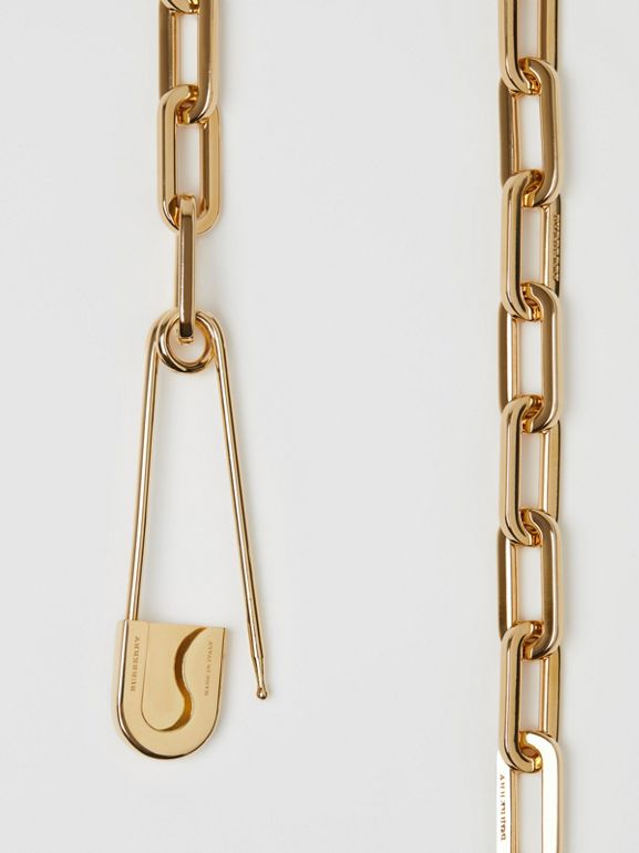 Crystal Daisy Kilt Pin Gold-plated Link Drop Necklace in Light - Women | Burberry - cell image 1