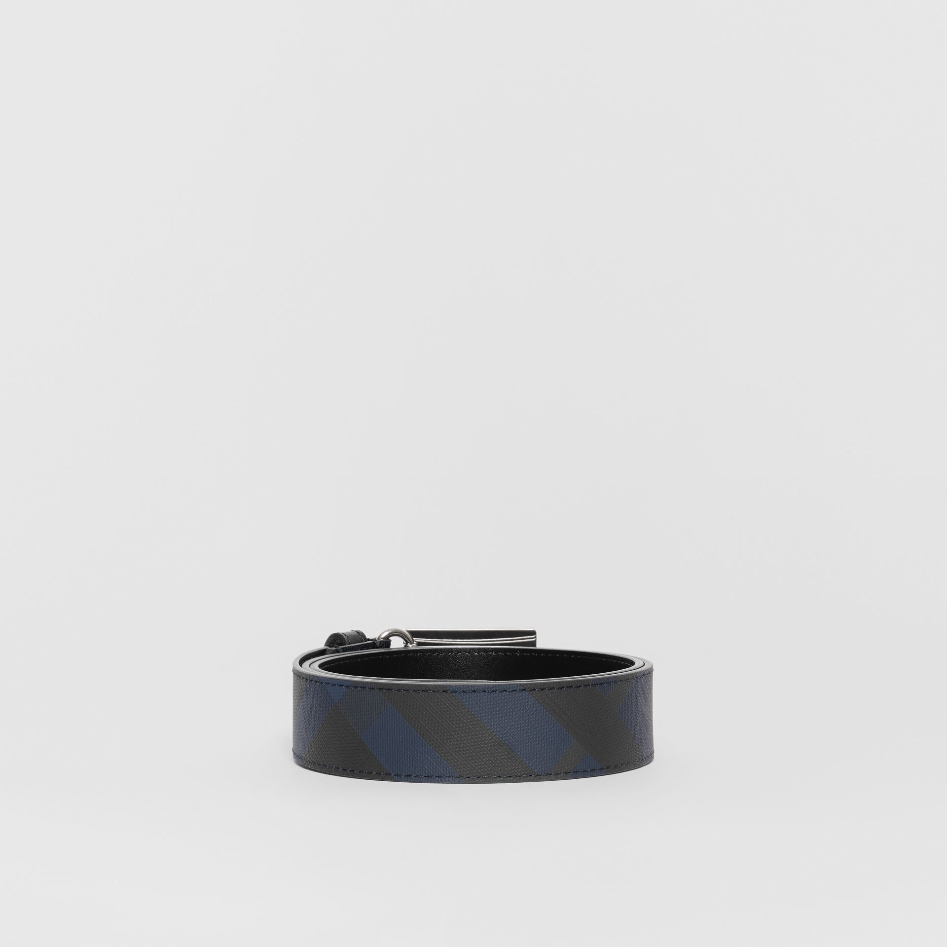 Plaque Buckle London Check and Leather Belt in Navy/black - Men | Burberry Canada - gallery image 4