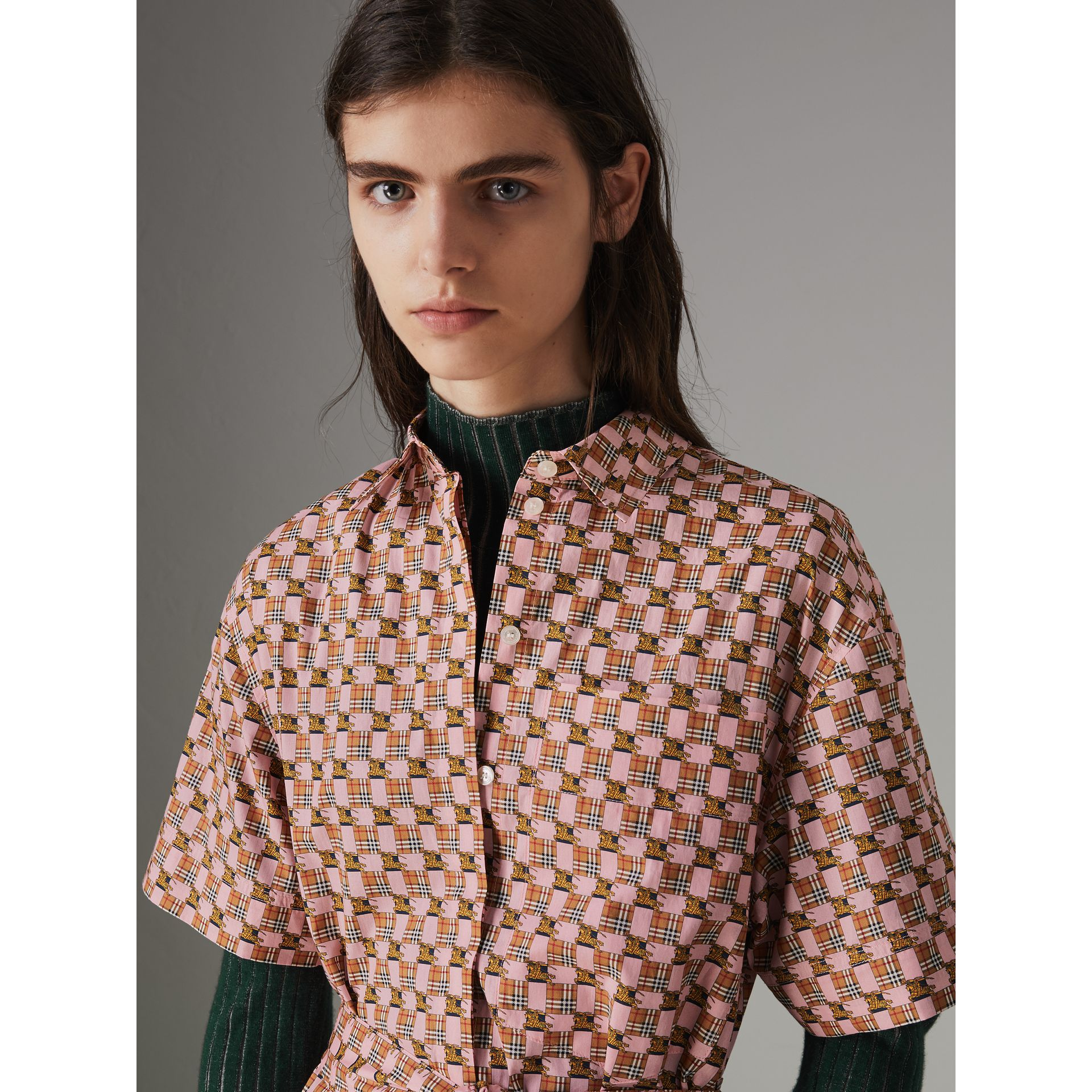 Tiled Archive Print Cotton Shirt Dress in Pink - Women | Burberry - gallery image 5