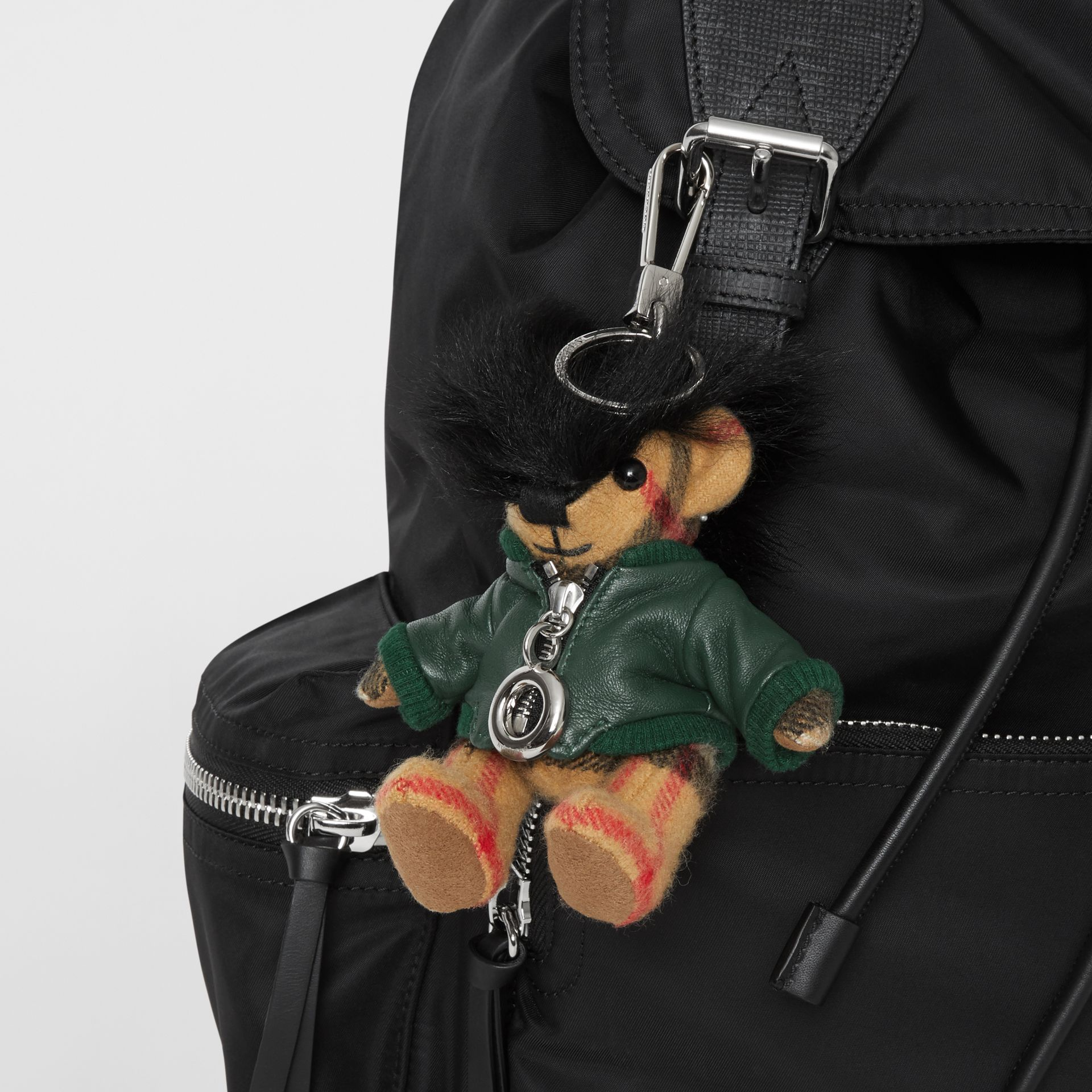 Thomas Bear Charm in Leather Jacket in Canvas Green | Burberry United Kingdom - gallery image 4
