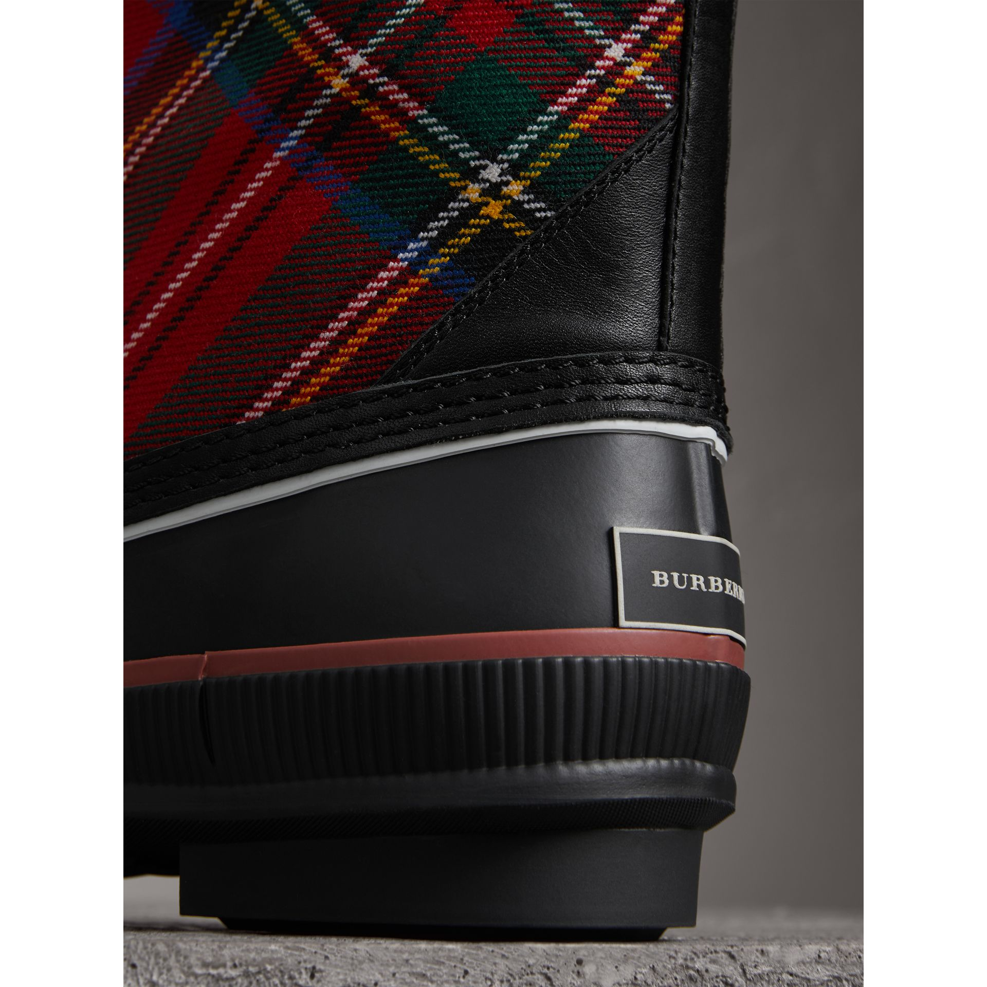 Lace-up Tartan Wool and Rubber Rain Boots in Bright Red - Women | Burberry Australia - gallery image 1
