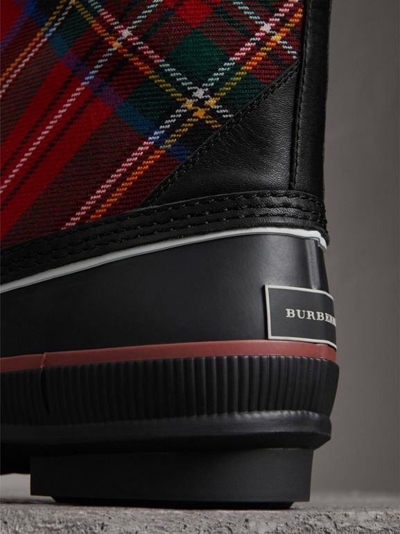 Lace-up Tartan Wool and Rubber Rain Boots in Bright Red - Women | Burberry - cell image 1