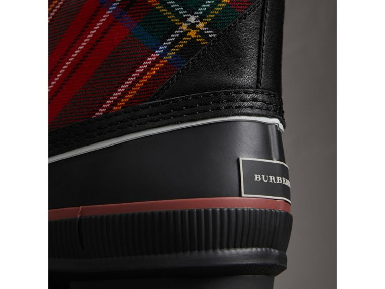 Lace-up Tartan Wool and Rubber Rain Boots in Bright Red - Women | Burberry Australia - cell image 1