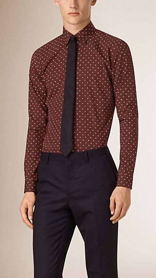 Slim Fit Heart Print Cotton Silk Shirt