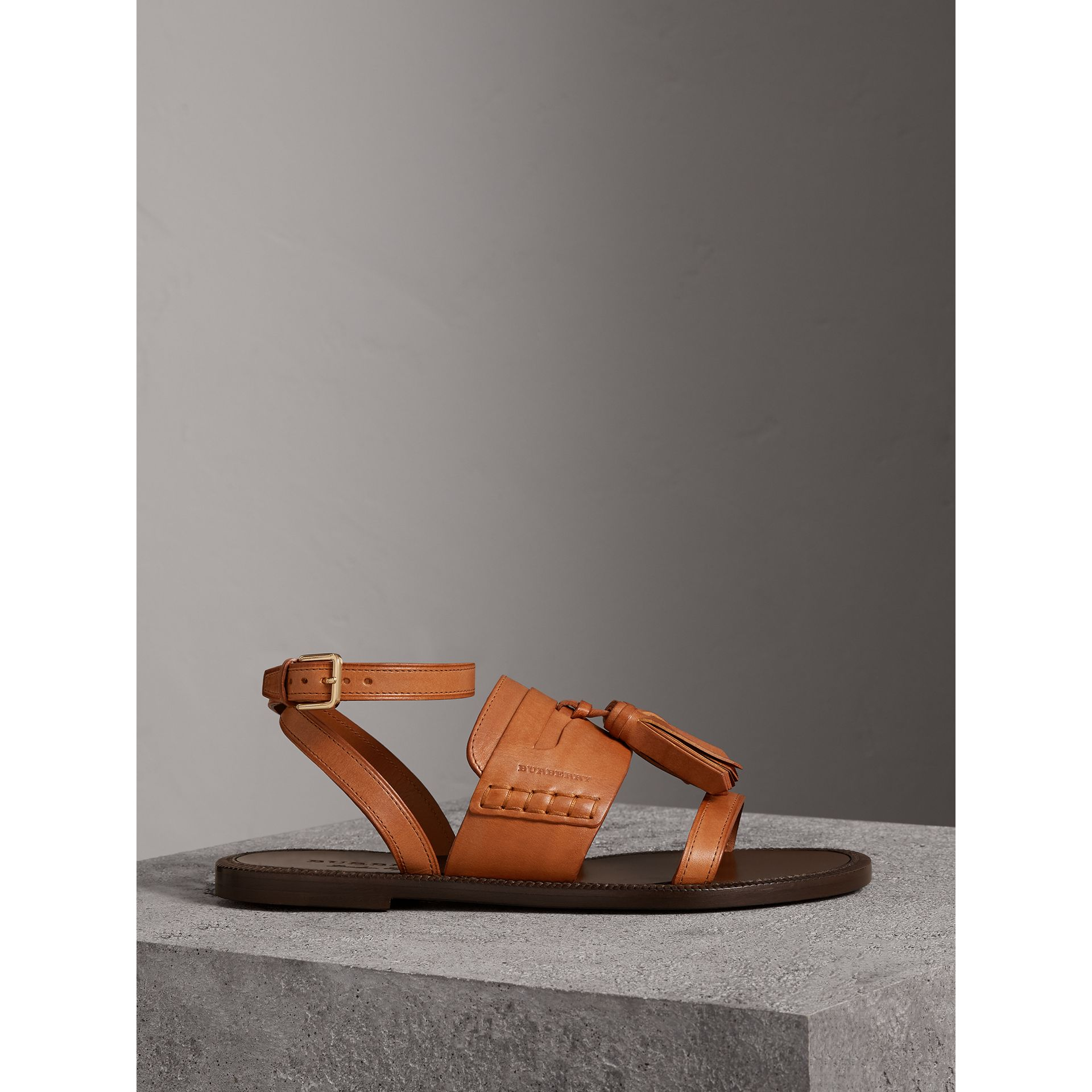 Tasselled Leather Sandals in Amber - Women | Burberry - gallery image 4