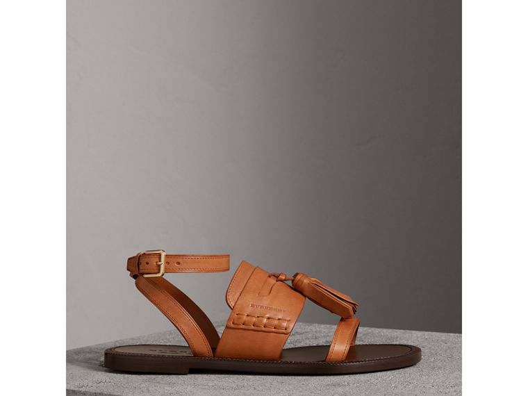 Tasselled Leather Sandals in Amber - Women | Burberry Hong Kong - cell image 4