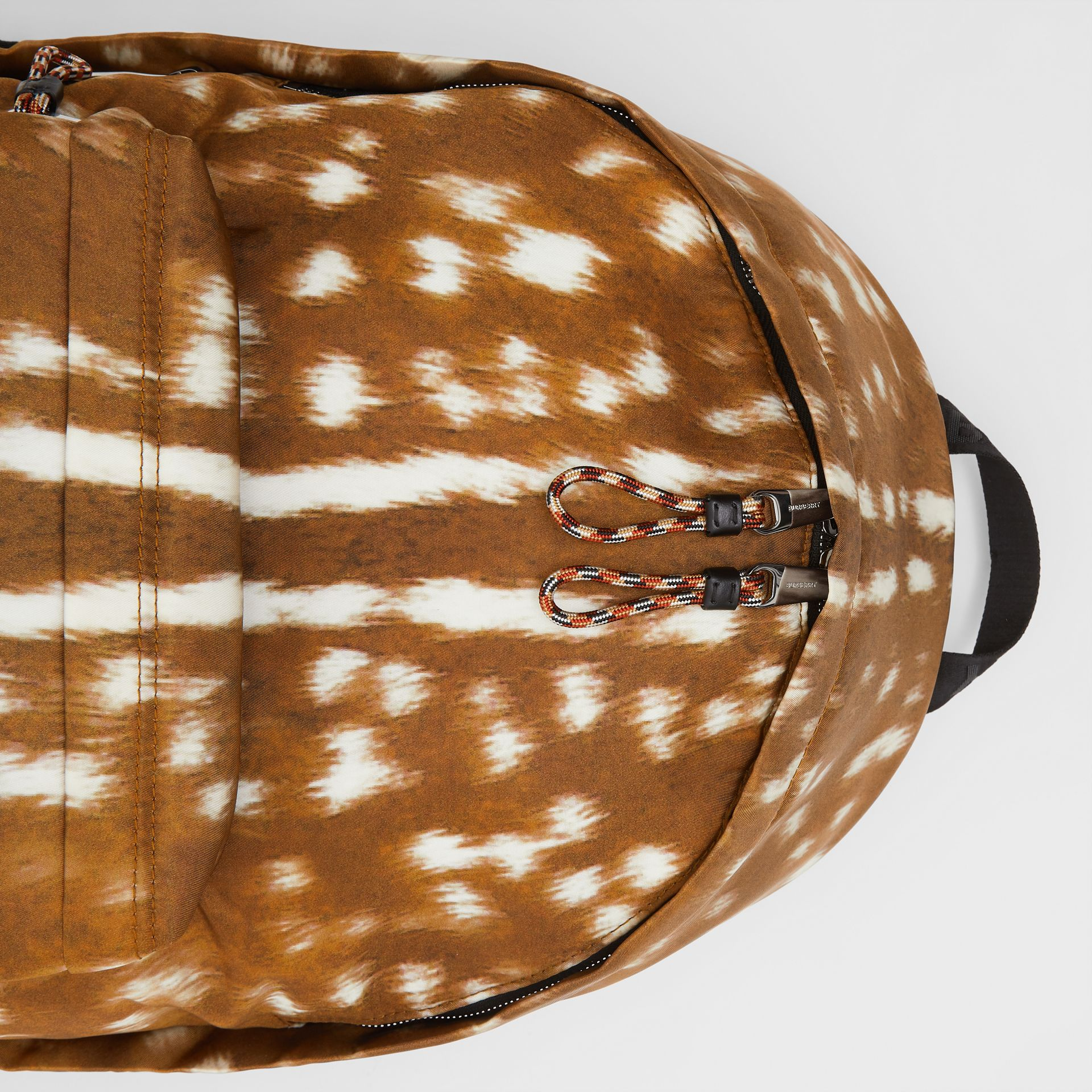 Deer Print Nylon Backpack in Tan/white | Burberry United Kingdom - gallery image 1