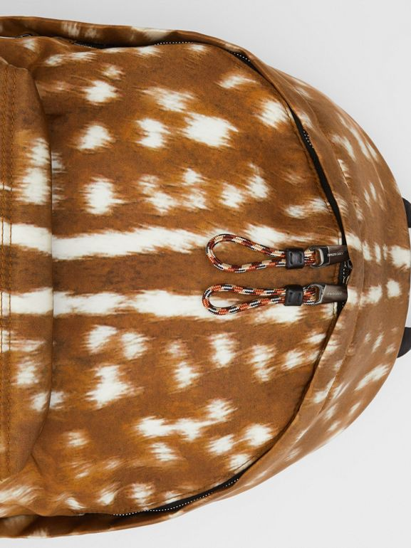 Deer Print Nylon Backpack in Tan/white | Burberry - cell image 1