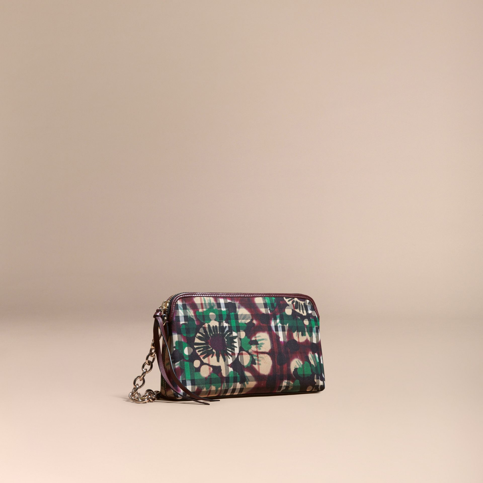 Deep claret Tie-dye Print Horseferry Check and Leather Clutch Bag Deep Claret - gallery image 1