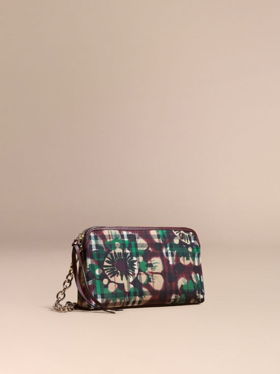 Tie-dye Print Horseferry Check and Leather Clutch Bag Deep Claret