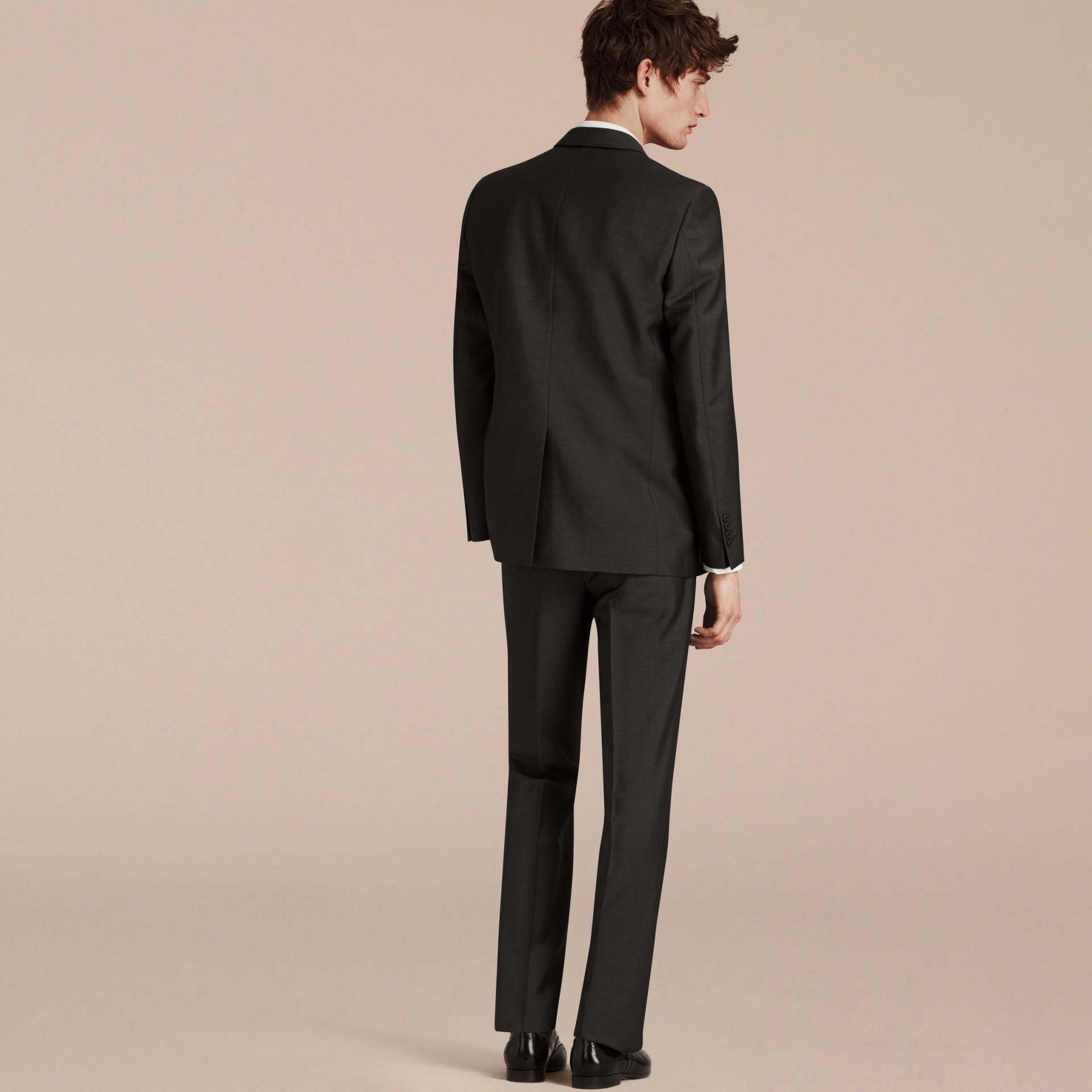 Dark grey Modern Fit Wool Mohair Part-canvas Suit Dark Grey - gallery image 3