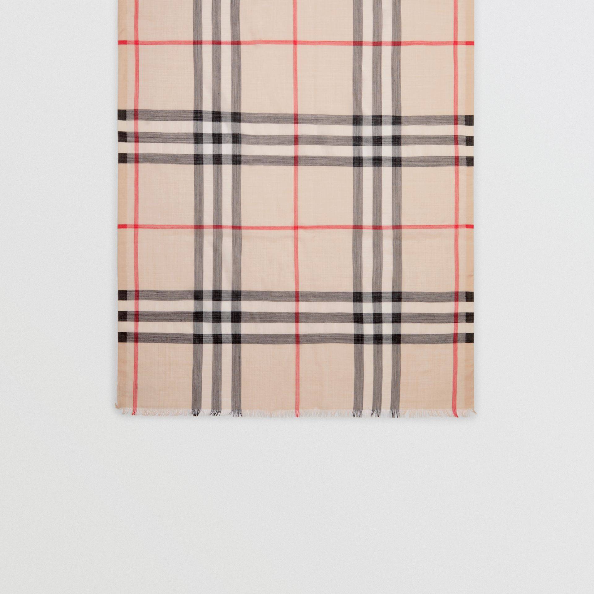 Lightweight Check Wool and Silk Scarf in Stone - Women | Burberry - gallery image 3