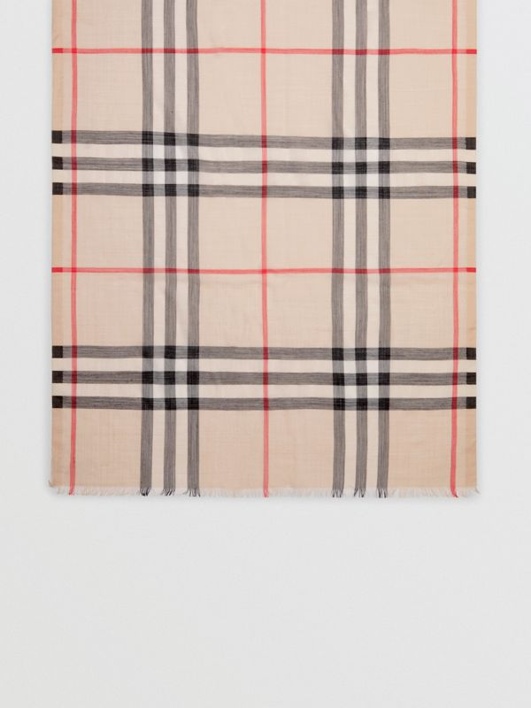 Lightweight Check Wool and Silk Scarf in Stone - Women | Burberry - cell image 3