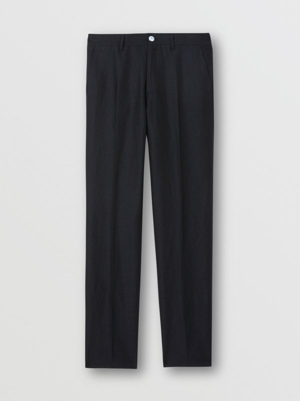 Classic Fit Wool Linen Mohair Tailored Trousers in Dark Navy - Men | Burberry - cell image 3