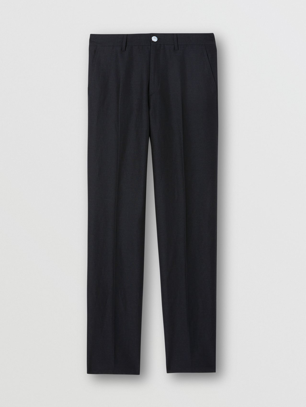 Classic Fit Wool Linen Mohair Tailored Trousers in Dark Navy