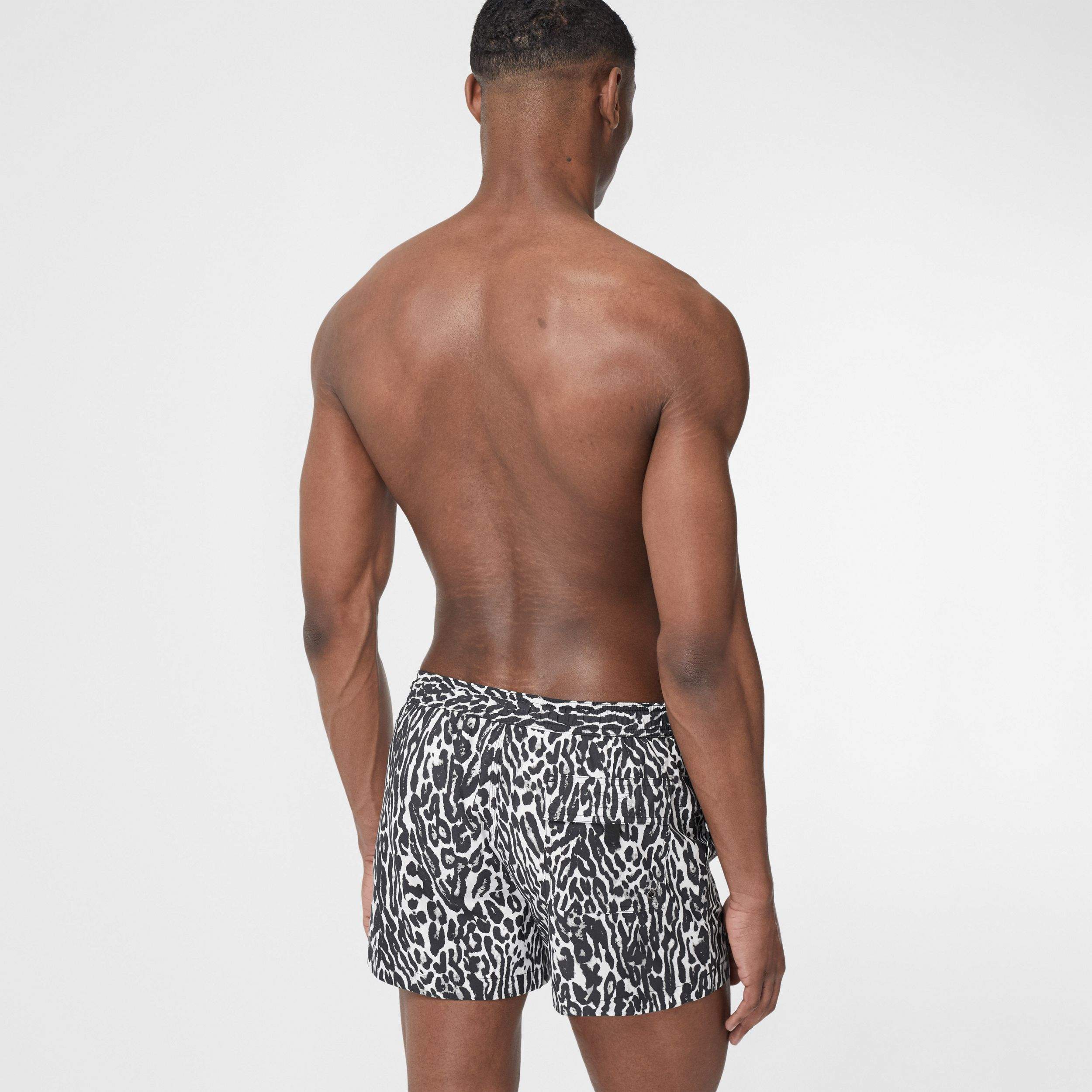 Leopard Print Drawcord Swim Shorts in Black - Men | Burberry - 2
