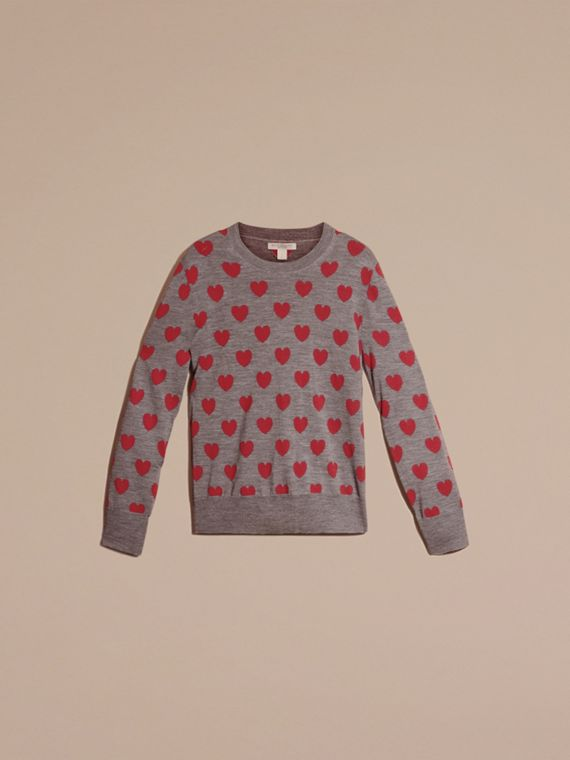 Mid grey melange Heart Intarsia Merino Wool Sweater - cell image 3