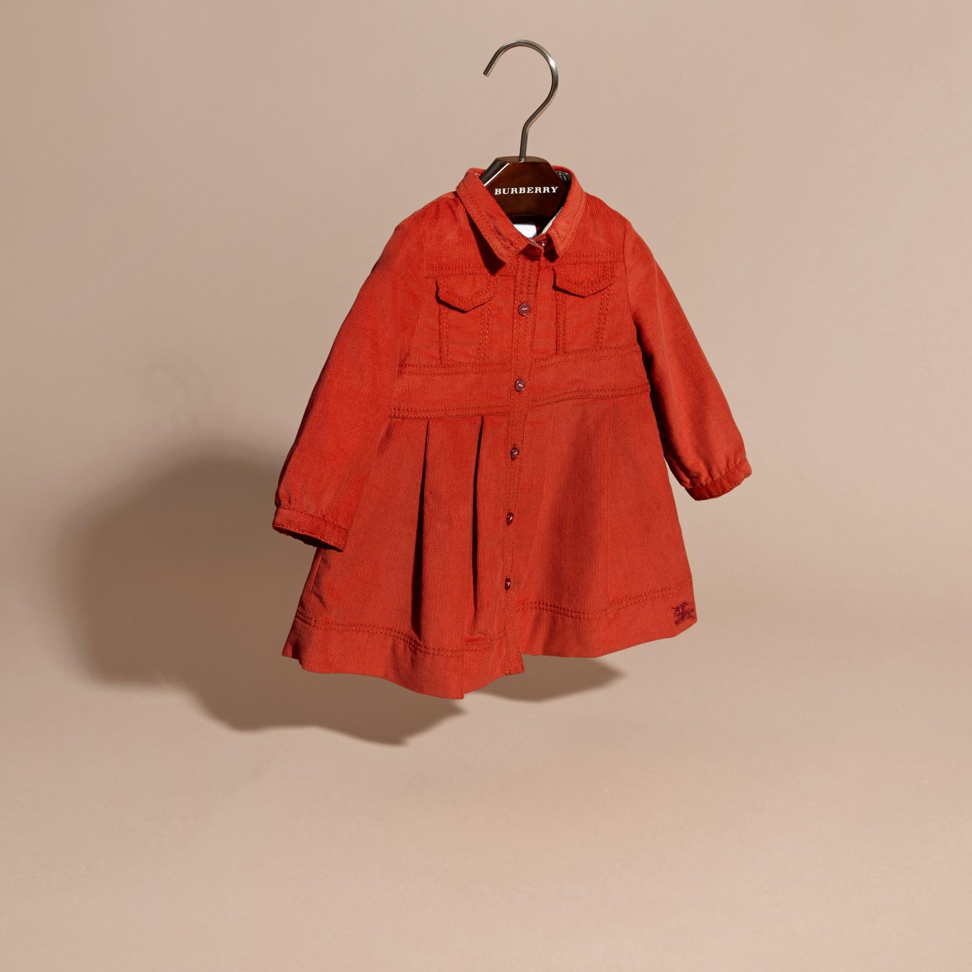 Rosso arancione Abito chemisier in corduroy di cotone Rosso Arancione - immagine della galleria 3
