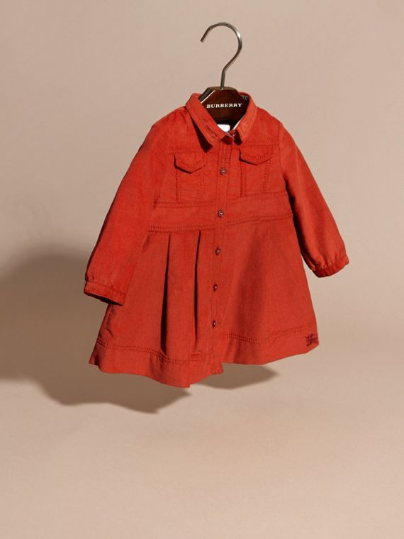 Orange red Cotton Corduroy Shirt Dress Orange Red - cell image 2
