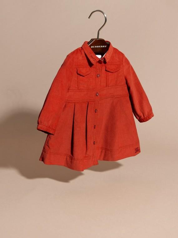 Rosso arancione Abito chemisier in corduroy di cotone Rosso Arancione - cell image 2