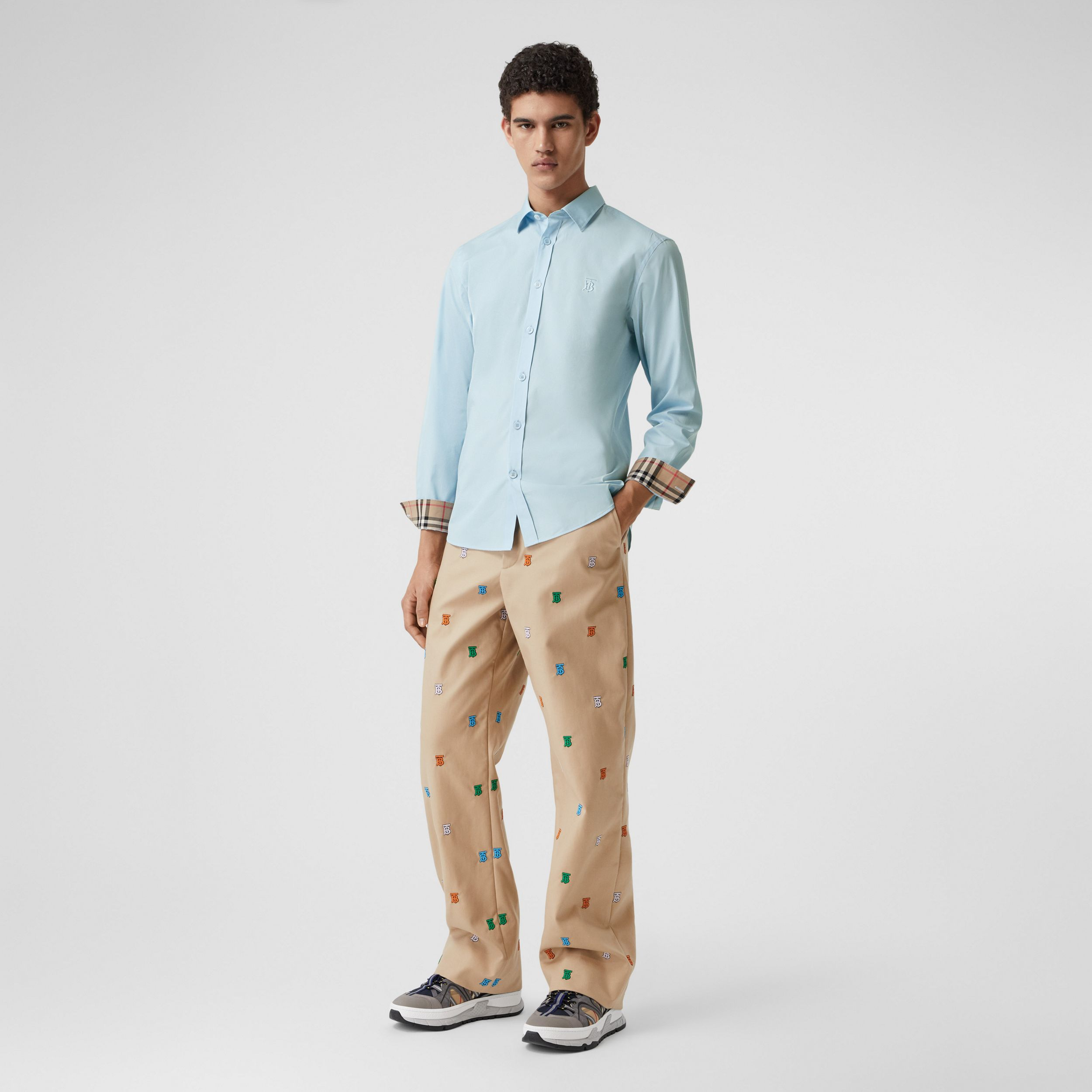 Slim Fit Monogram Motif Stretch Cotton Poplin Shirt in Pale Blue - Men | Burberry Hong Kong S.A.R. - 1