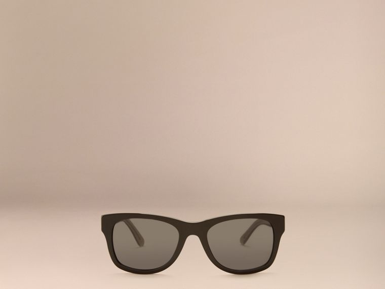 Black Check Detail Square Frame Sunglasses Black - cell image 4