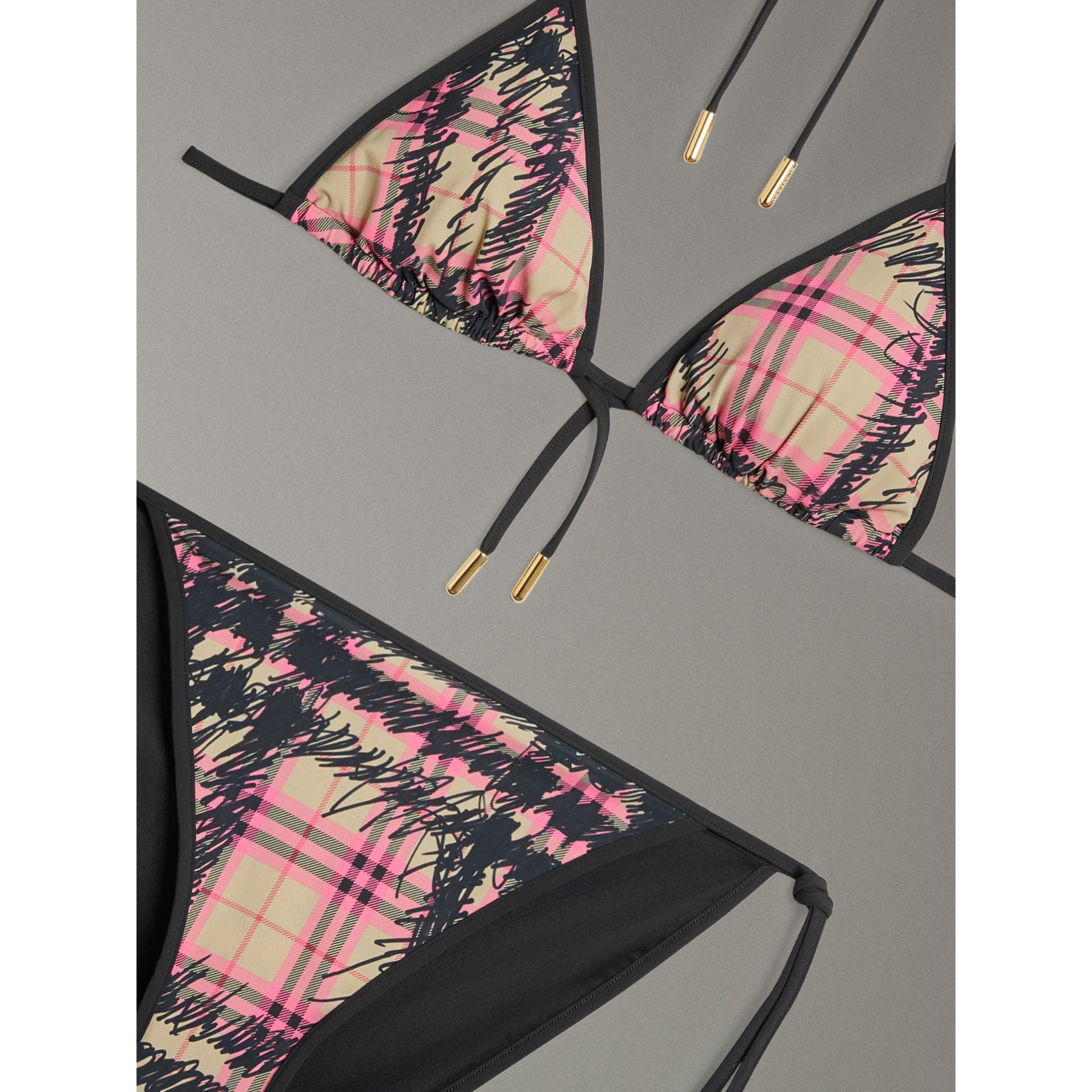 Scribble Check Triangle Bikini in Pomegranate Pink - Women | Burberry - gallery image 1
