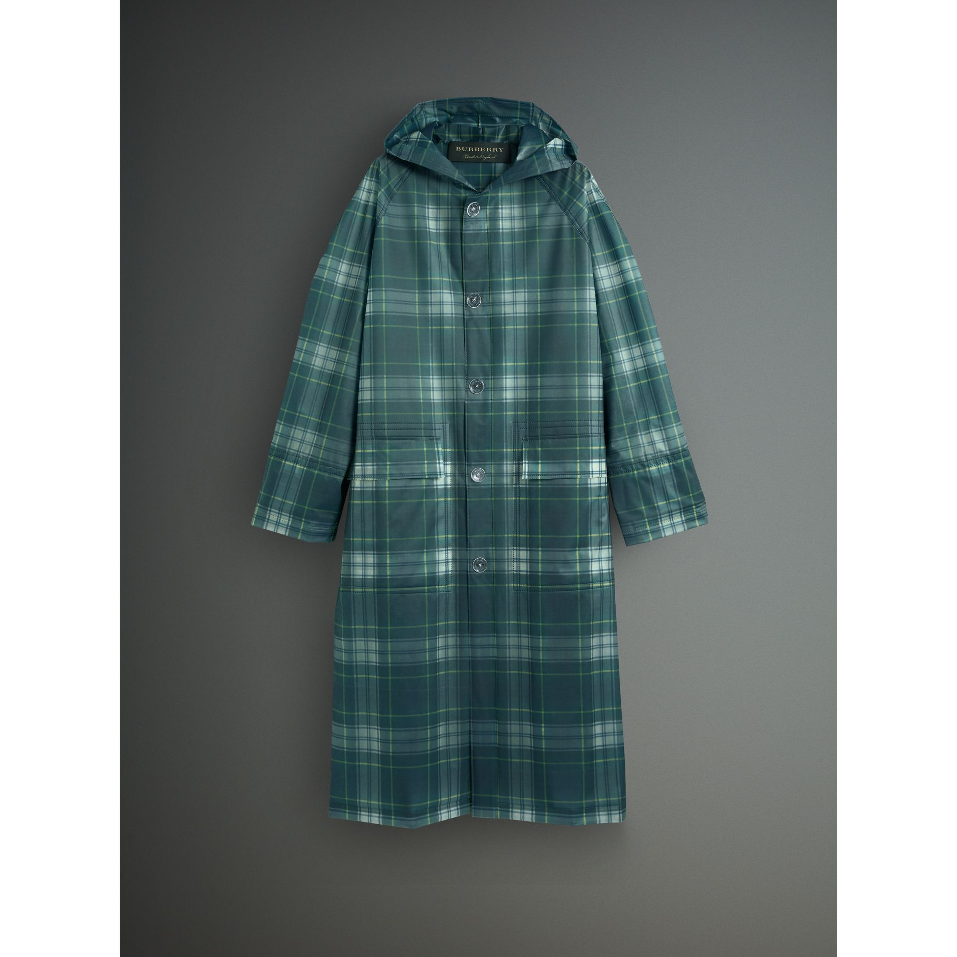 Tartan Soft-touch Plastic Hooded Car Coat in Navy - Men | Burberry - gallery image 4