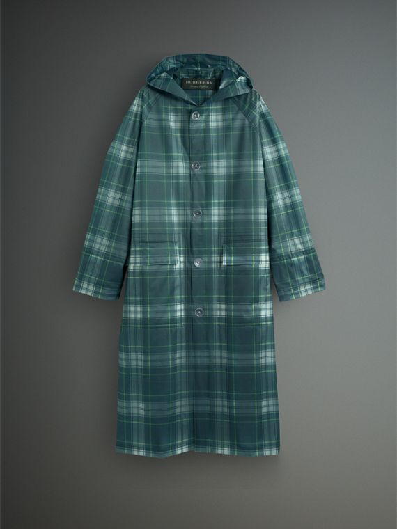 Tartan Soft-touch Plastic Hooded Car Coat in Navy - Men | Burberry - cell image 3