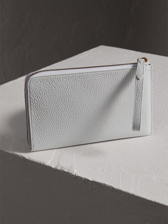 Embossed Leather Travel Wallet in Chalk White | Burberry - cell image 2