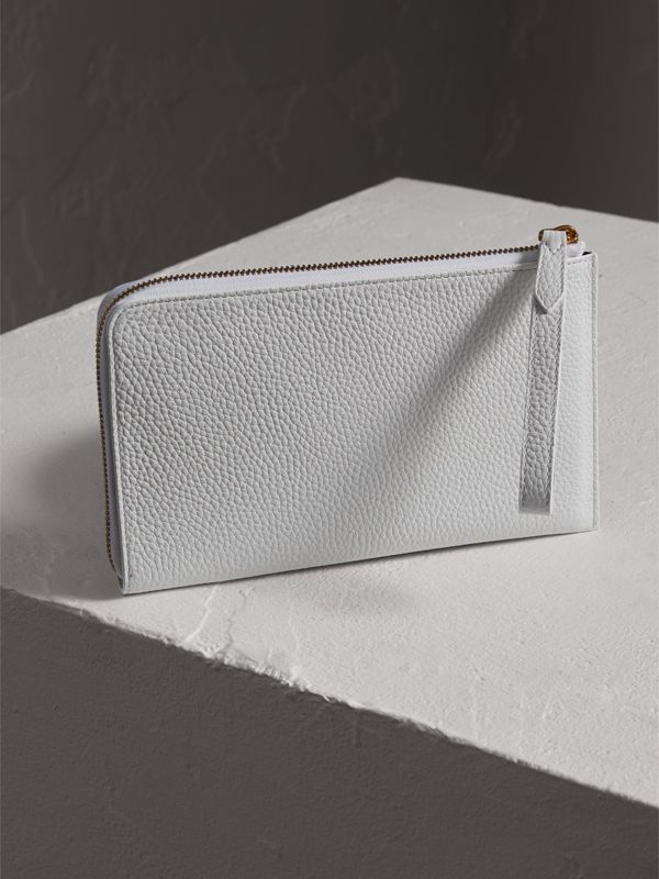 Embossed Leather Travel Wallet in Chalk White | Burberry Australia - cell image 2