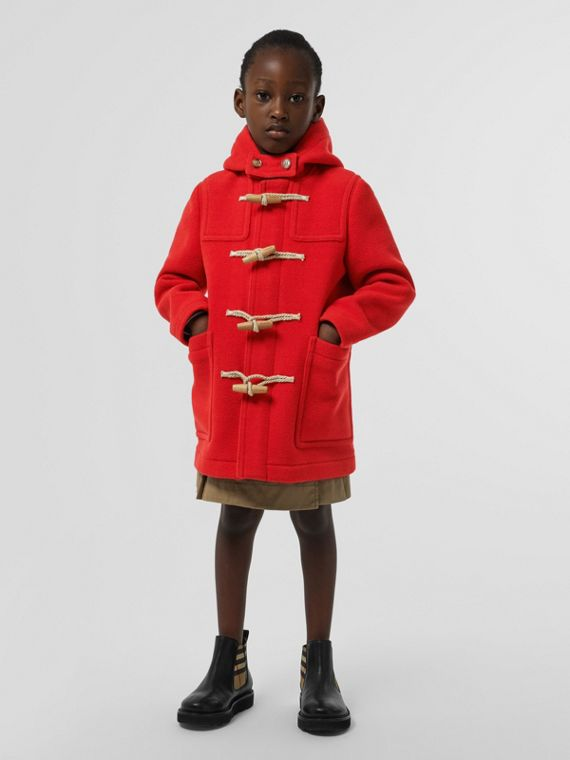 Double-faced Wool Duffle Coat in Bright Red