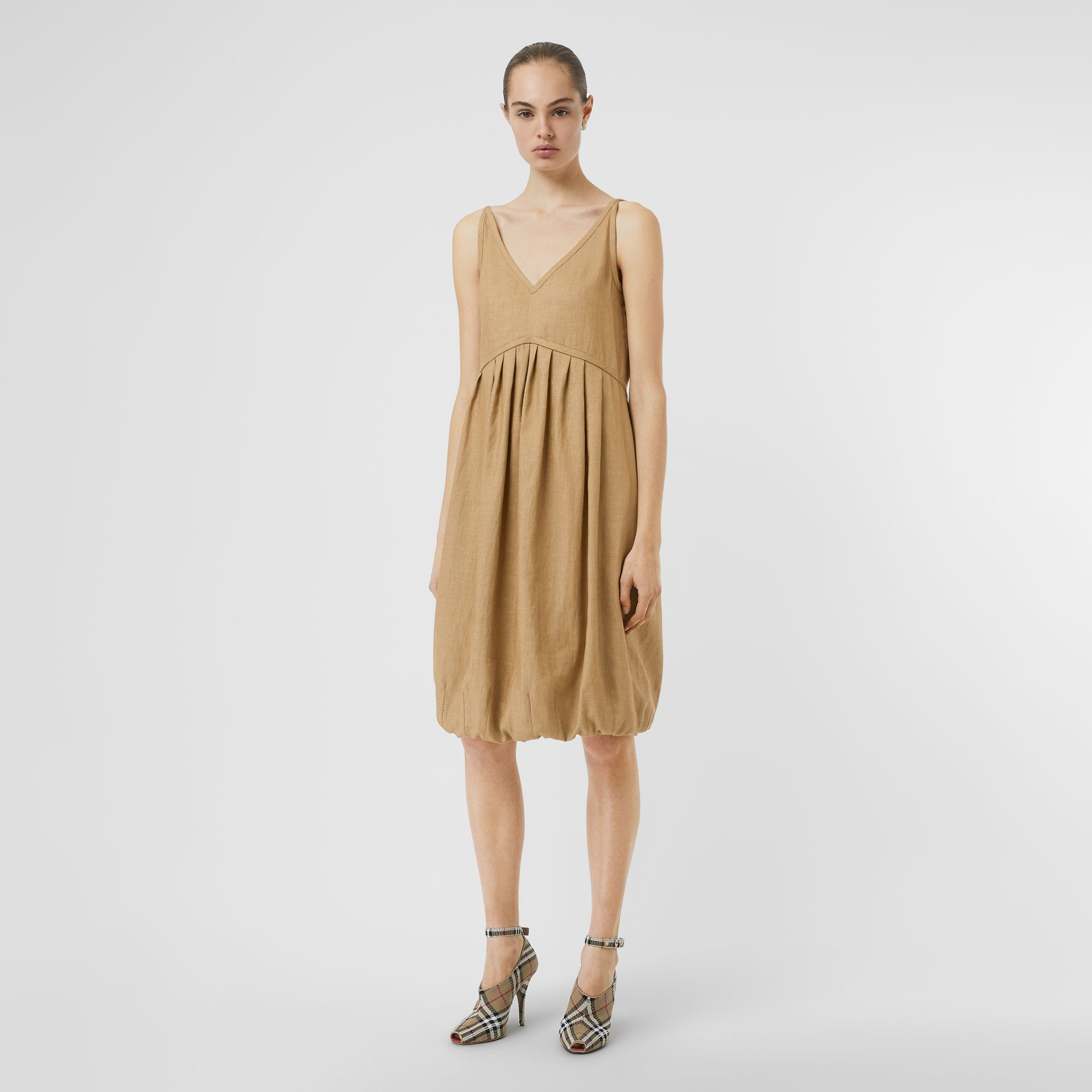 Linen Blend Bubble Hem Dress in Honey - Women | Burberry - gallery image 0