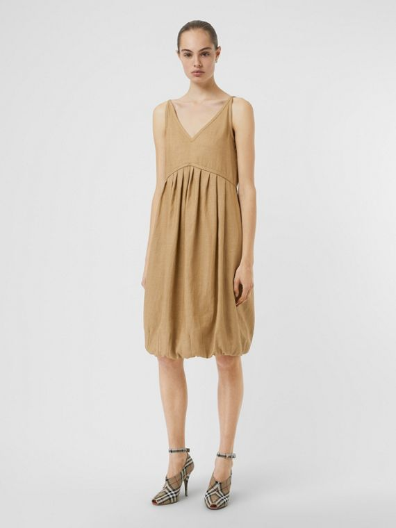 Linen Blend Bubble Hem Dress in Honey