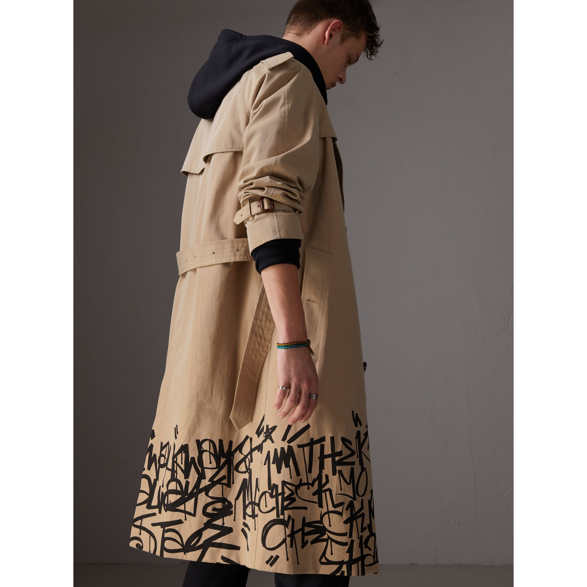 Burberry x Kris Wu Gabardine Trench Coat in Honey - Men | Burberry - gallery image 2