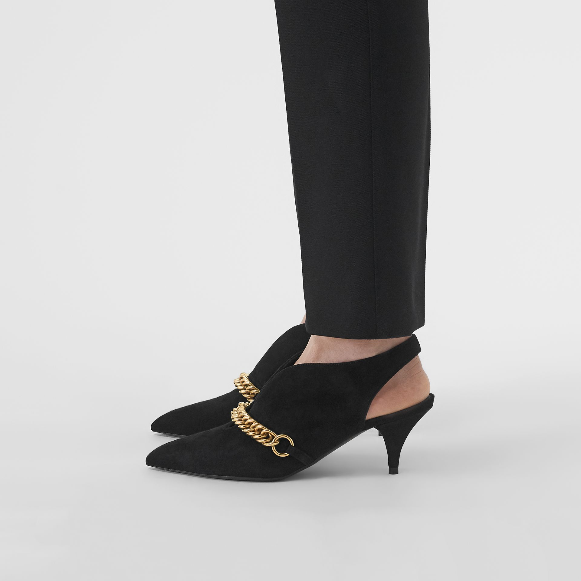 Link Detail Suede Slingback Pumps in Black - Women | Burberry United Kingdom - gallery image 2
