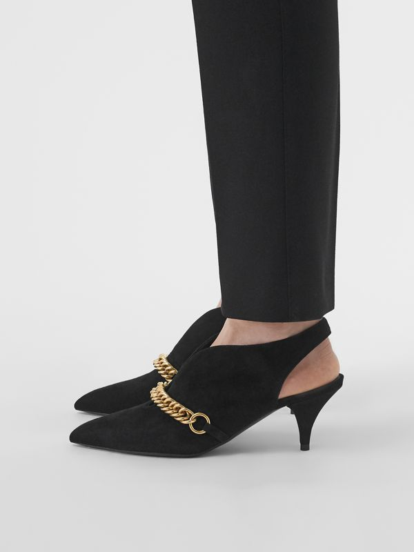 Link Detail Suede Slingback Pumps in Black - Women | Burberry - cell image 2