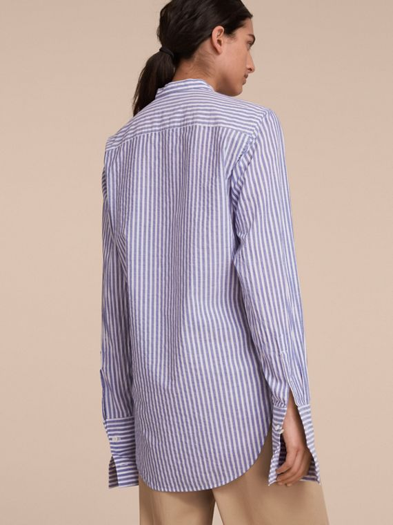 Unisex Grandad Collar Pleated Bib Striped Cotton Shirt - Women | Burberry - cell image 2