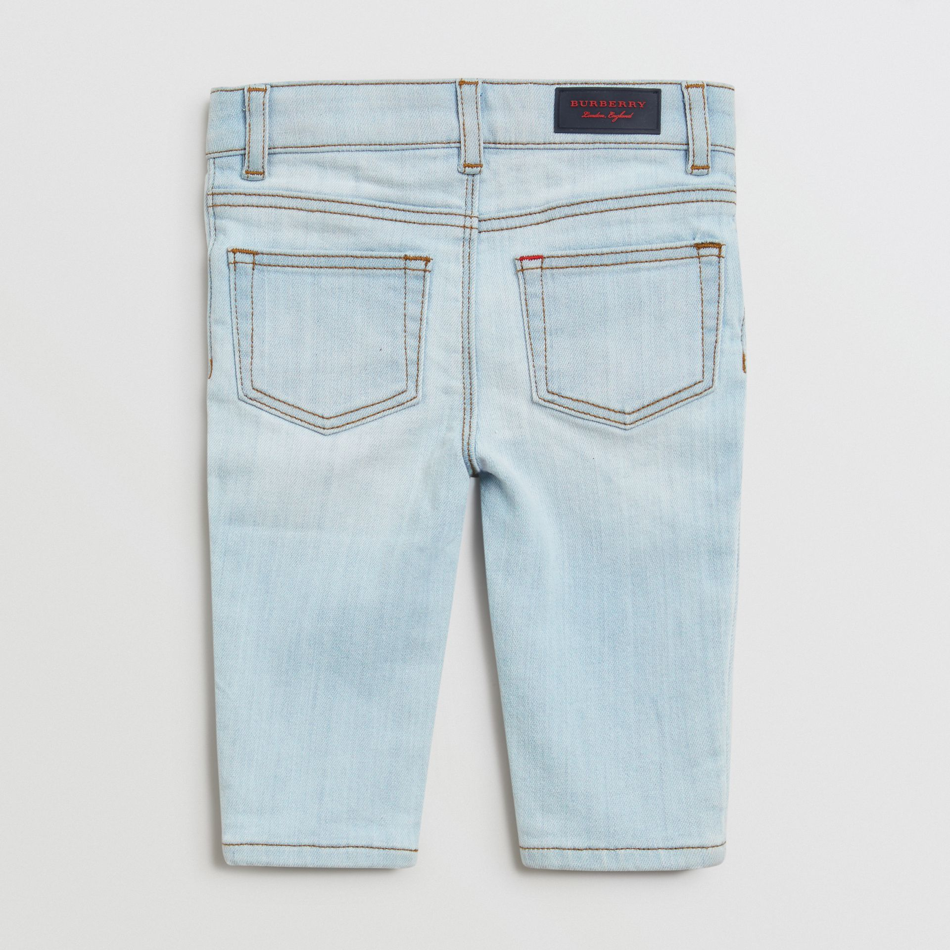 Skinny Fit Stretch Denim Jeans in Light Blue - Children | Burberry Canada - gallery image 3