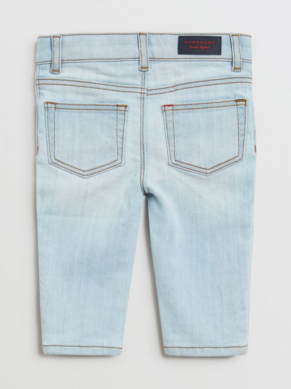 Skinny Fit Stretch Denim Jeans in Light Blue - Children | Burberry - cell image 3