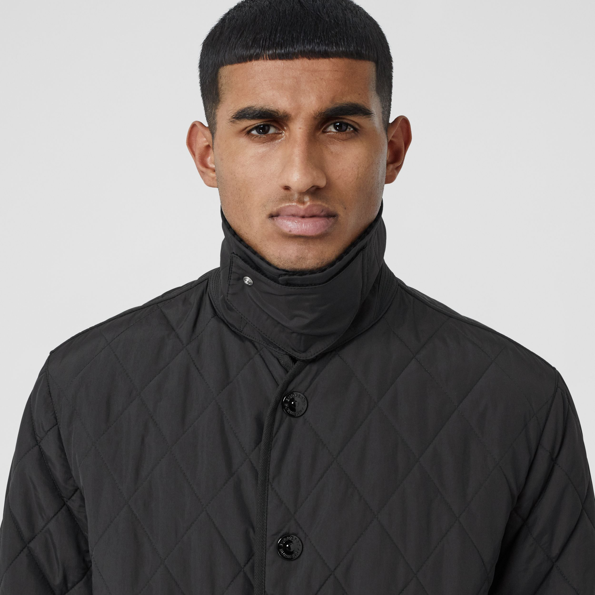 Striped Trim Diamond Quilted Barn Jacket in Black - Men | Burberry - 2