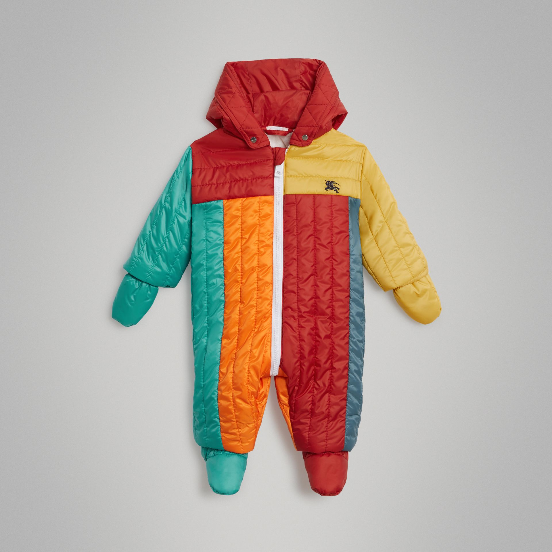Colour Block Quilted Puffer Suit in Orange Red - Children | Burberry United Kingdom - gallery image 2