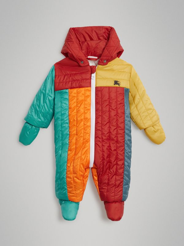 Colour Block Quilted Puffer Suit in Orange Red - Children | Burberry - cell image 2