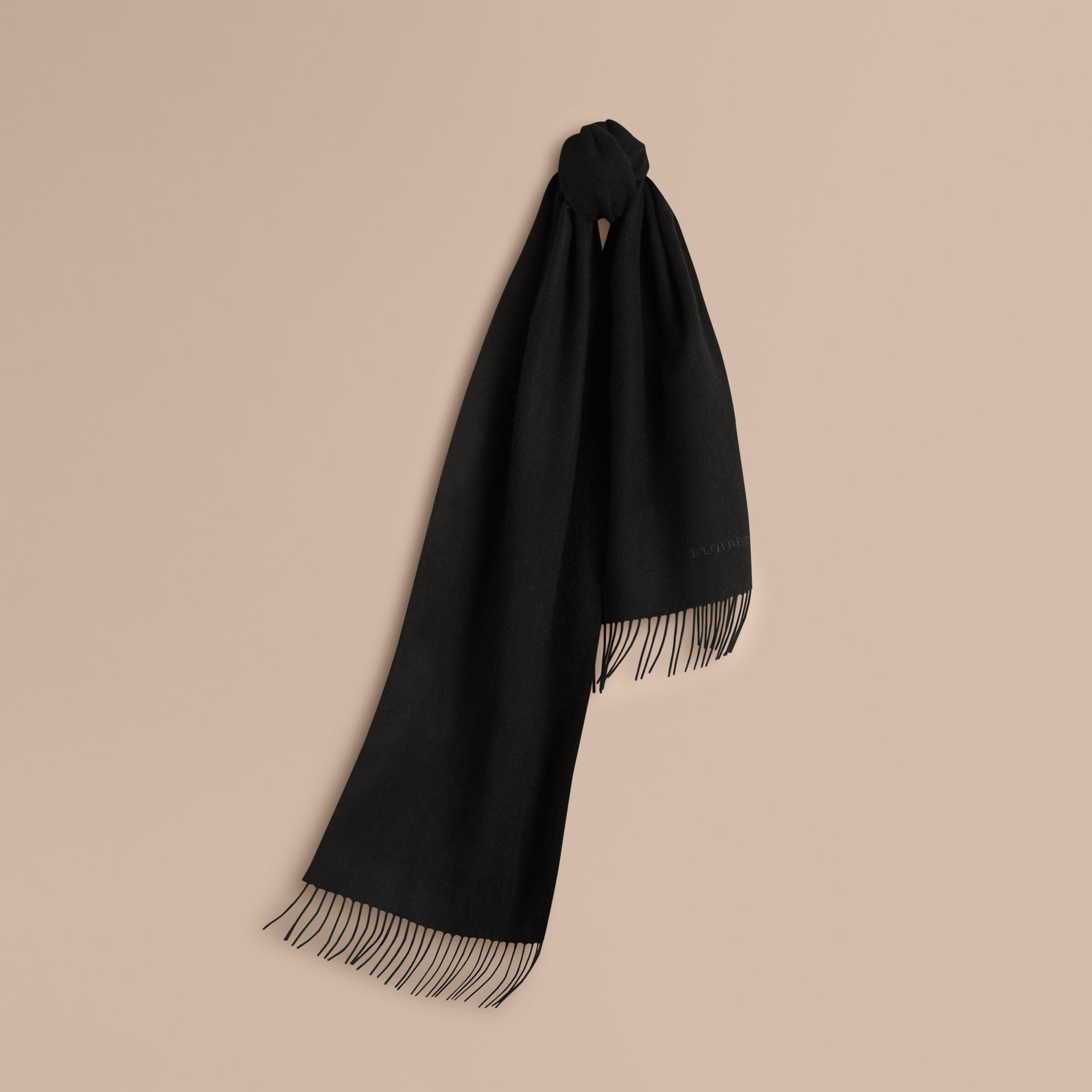 The Classic Cashmere Scarf in Black | Burberry - gallery image 6
