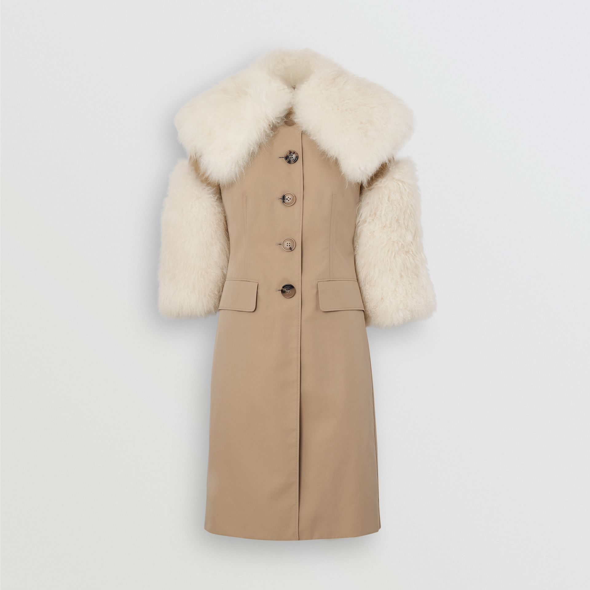 Goat Hair Trim Cotton Gabardine Coat in Honey - Women | Burberry - gallery image 3