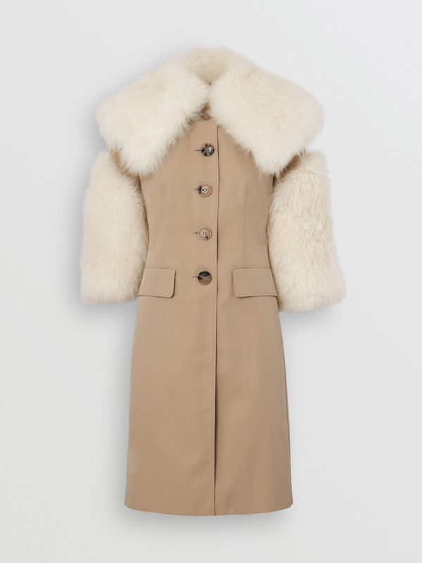 Goat Hair Trim Cotton Gabardine Coat in Honey - Women | Burberry - cell image 3