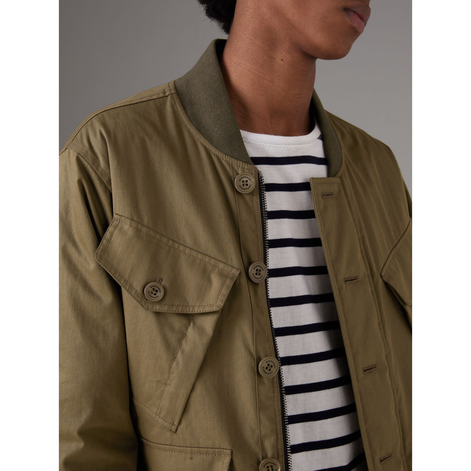 Reversible Quilted Bomber Jacket in Military Khaki - Men | Burberry - gallery image 1