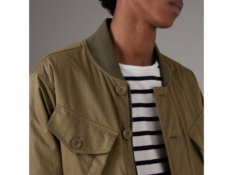 Reversible Quilted Bomber Jacket in Military Khaki - Men | Burberry - cell image 1